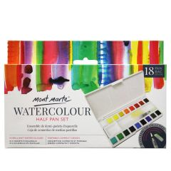 Mont Marte Watercolour Paint 18 Colour Half Pan Set with Brush, Sponge and Dish