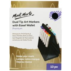 Mont Marte Premium Dual Tip Markers with Easel Wallet 13 Pieces
