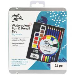 Mont Marte Watercolour Pan & Pencil Set 21 Pieces