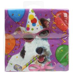 Amscan Beverage Napkins 3 Ply Bow Wow Birthday 16 Pk