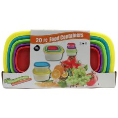 Square Plastic Storage Food Containers 20 Pieces