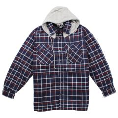 Big Valley Plaid Flannelette Shirt with Removable Hood