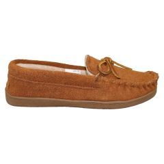 Suede Moccasin Slipper Brown