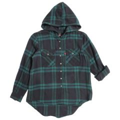 Women's Flannel Hooded Button Front Shirt Assorted