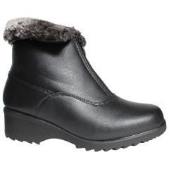 Canada Comfort Fur Lined Ankle Boot with Grip Black