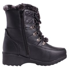 Canada Comfort Women's Fur Trim Lace Up Boots with Grip Black