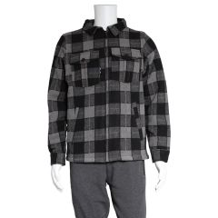 Navy Crew Co. Sherpa Lined Buffalo Plaid Jacket Grey
