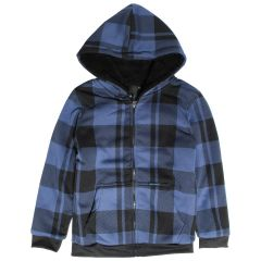 NXT GEN Boys Plush Zip Front Hoodie Buffalo Plaid Blue Size 8-16