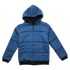 NXT GEN Boys Plush Zip Front Hoodie Striped Royal Blue Size 8-16