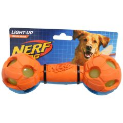 LED Nerf Dog Bash Barbell Light-Up Pet Toy Medium 7in