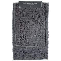 Chenille Non-Slip Bathmat Set Grey 2Pc