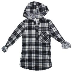 2 Dye 4 Girls' Long Plaid Shirt with Hood Size 7-14