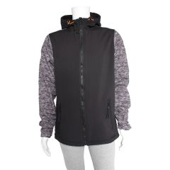 Hooded Raglan Softshell Jacket Black and Grey