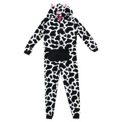 Girls Coral Fleece Cow Onsie One Piece Pajamas Size 7-14