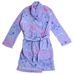 Chili Peppers Girls Coral Fleece Bath Robe Stars Print 4-14