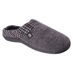 Isotoner High Back Tweed and Plaid Slippers Grey