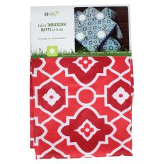 Round Outdoor Fabric Tablecloth Geometric Print 70in