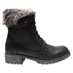 The Edge Casual Lace Up Boot Fur Trim Black