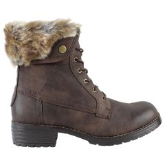 The Edge Casual Lace Up Boot Fur Trim Brown