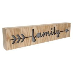 Wooden Block LED Family Art 3 x 16in