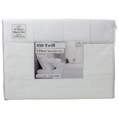 Hotel Quality Sheet Set 6 PieceKing Sheet Set Twill White