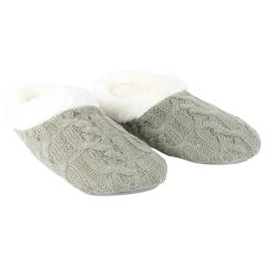 Serenity Cable Knit Memory Foam Slippers Grey