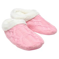 Serenity Cable Knit Memory Foam Slippers Pink
