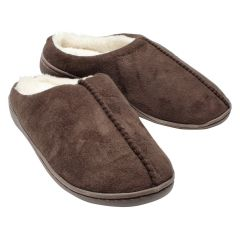 Serenis Plush Memory Foam Clog Slippers Brown
