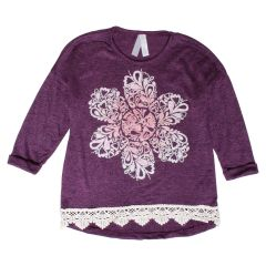 2 Dye 4 Girls Sweater Print With Lace Size 7-14