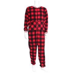 Vintage 514 Men's Onesie Plush Buffalo Plaid Jumpsuit Red & Black