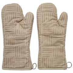 Khaki Oven Mitts With Silicone Grip