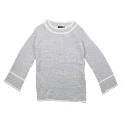 Margie Girls Crew Neck Sweater Contrast Trim Snow Size 7-14