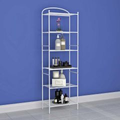 6 Tier Metal Shelf Storage Unit White