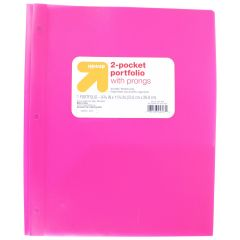 Up & Up 2 Pocket Folder with Prongs 1 Portfolio Assorted Colors