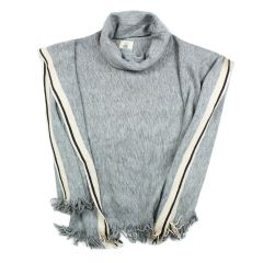 DKR Cottage Collection Turtle Neck Poncho Grey