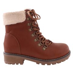 Sherpa Lined Lace Up Ankle Boot Tan