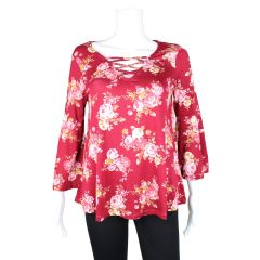 2 Dye 4 Bell Sleeve Floral Blouse Red