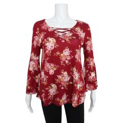 2 Dye 4 Plus Size Bell Sleeve Floral Blouse Red