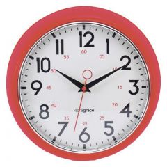 Kiera Grace Retro Wall Clock 9.5 inch Red