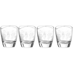 Qualia Orchard Double Old Fashioned Glass Tumblers Set of 4