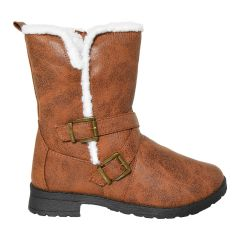 Sherpa Trim Motorcycle Buckle Boot Brown
