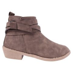 Leather Wrap Ankle Boots Taupe