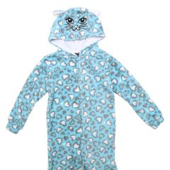 Girls Plush Hooded Onesie Size 4-6X