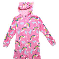 Girls Unicorn Onesie Hooded Plush Fleece One Piece Pajamas Size 7-16