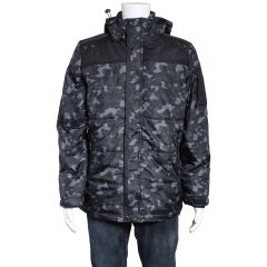 Hooded Camouflage Puffer Jacket Black