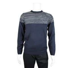 Men's Crew Neck Marl Yoke Sweater Navy