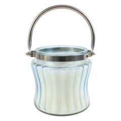 Ribbed Glass Candle Jar With Handle 20 oz