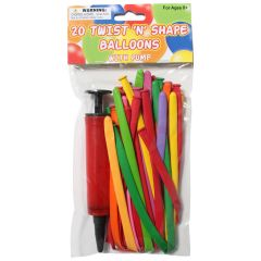 Balloons Twist n Shape Assorted 20Pk With Pump