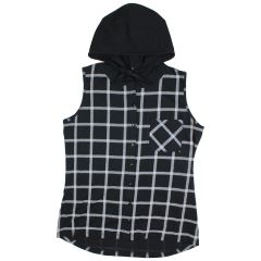 Paradiso Sleeveless Button Front Hooded Shirt