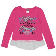 Diva Girls Long Sleeve TShirt Fringe Lace Size 4 - 6